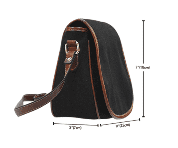 Crafter Fashion Themed Design A2 Crossbody Shoulder Canvas Leather Saddle Bag