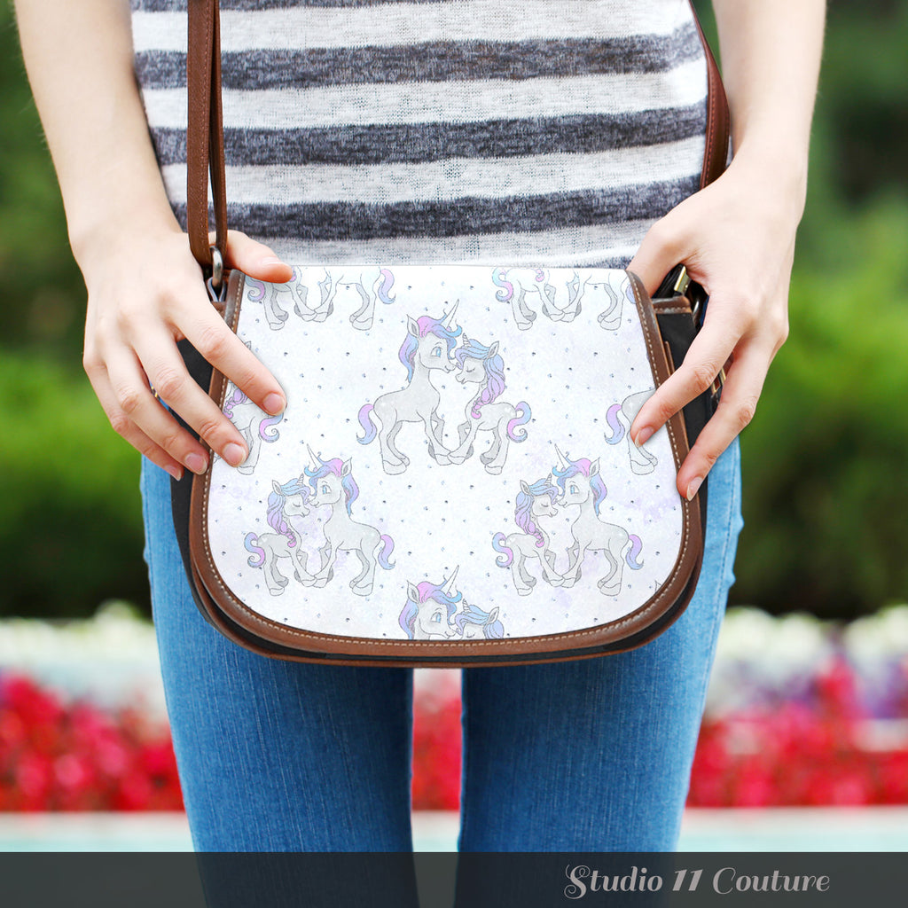 Unicorn In Love Dotted Crossbody Shoulder Canvas Leather Saddle Bag - STUDIO 11 COUTURE