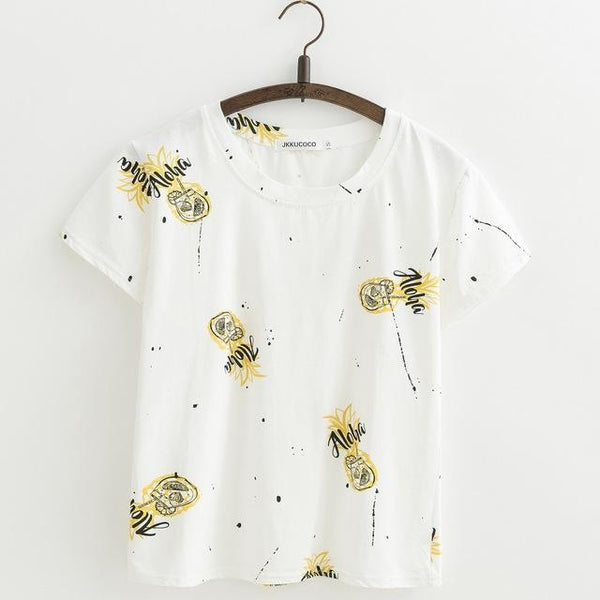 Shabby Chic Floral Printed All Over Short Sleeve Women'sTee T-Shirt Top, Color - J404
