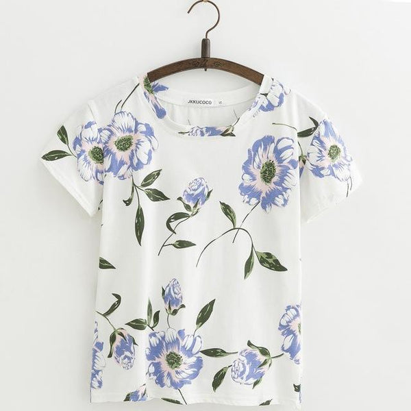 Shabby Chic Floral Printed All Over Short Sleeve Women'sTee T-Shirt Top, Color - J412A