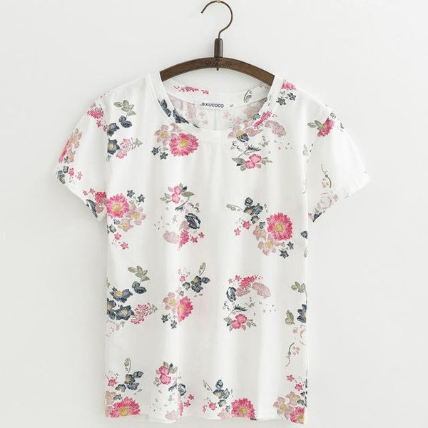 Shabby Chic Floral Printed All Over Short Sleeve Women'sTee T-Shirt Top, Color - J416A