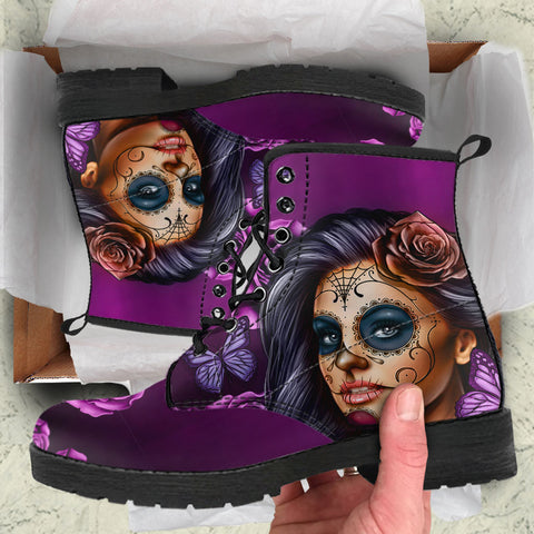 Violet Sugar Skull Girl Womens Leather Boots
