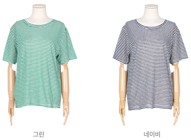 Stripe Cool Short Sleeve T-Shirt (스트라이프 쿨 반팔 티) Free Size