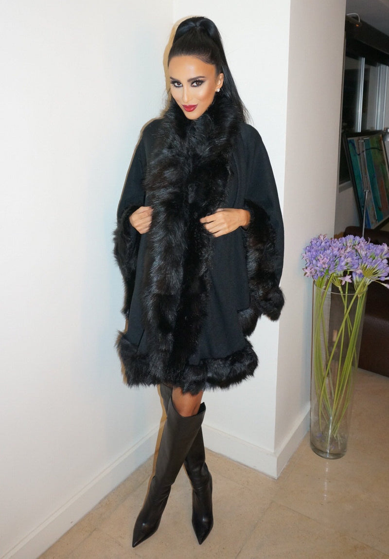 Beverly Faux Fur Poncho - Black - WantMyLook
