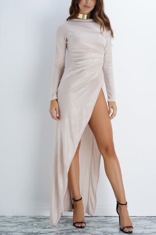 Gracie Velvet Dress - Champagne