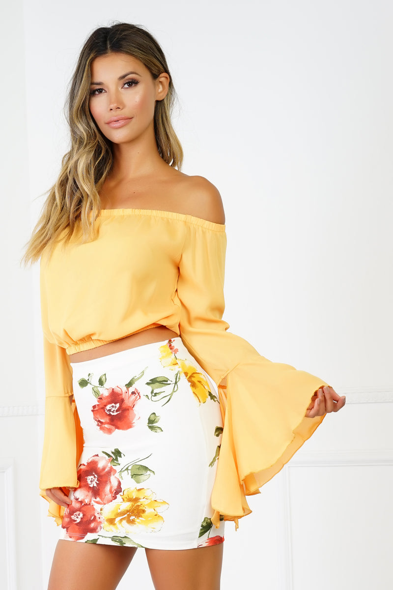 Get Lucky Off The Shoulder Top - Yellow