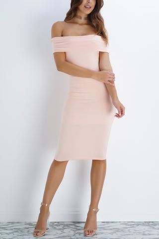 Arielle Off The Shoulder Midi Dress - Blush