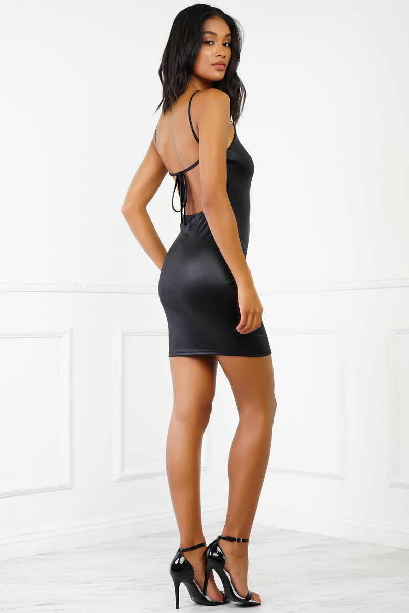 Cici Metallic Halter Mini Dress - Black