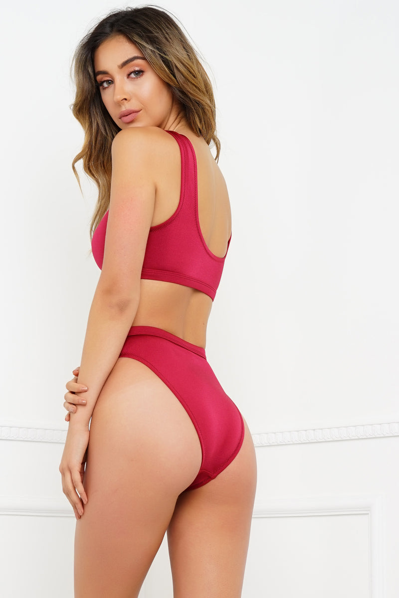 Night Swim Bottom - Metallic Ruby