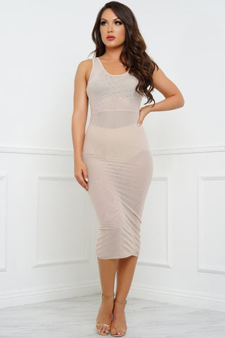 Nieve Mesh Dress - Nude