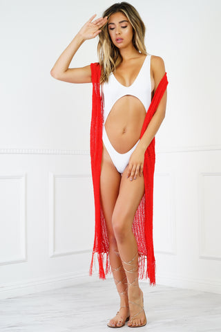 Sunset Fringe Crochet Cover Up - Red