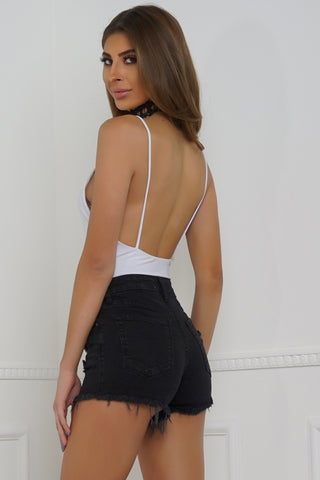 Snap Shot Denim Shorts - Black