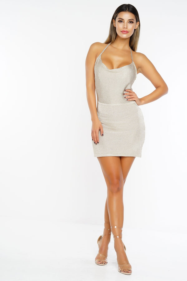 Jagger Cowl Halter Dress - Champagne