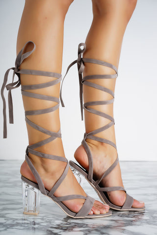 Letty Lace Up Perspex Heels - Grey