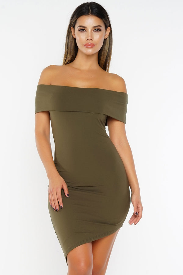 Charlie Off The Shoulder Asymmetrical Dress - Olive