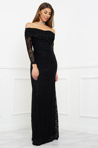 Sam Off Shoulder Lace Gown - Black