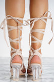 Letty Lace Up Perspex Heels - Nude