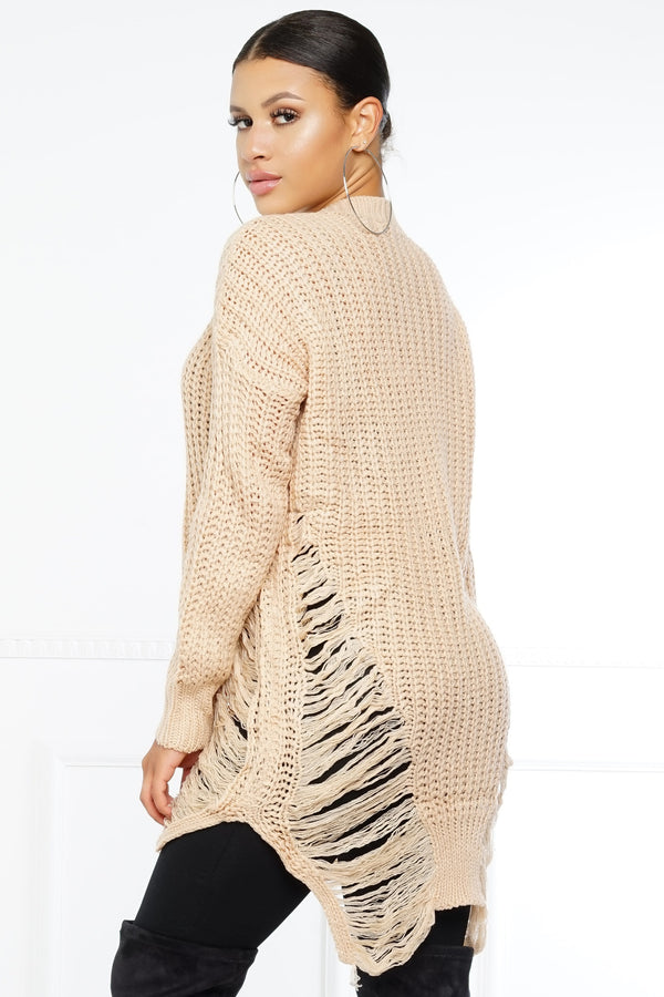 Rip Me Open Sweater - Nude