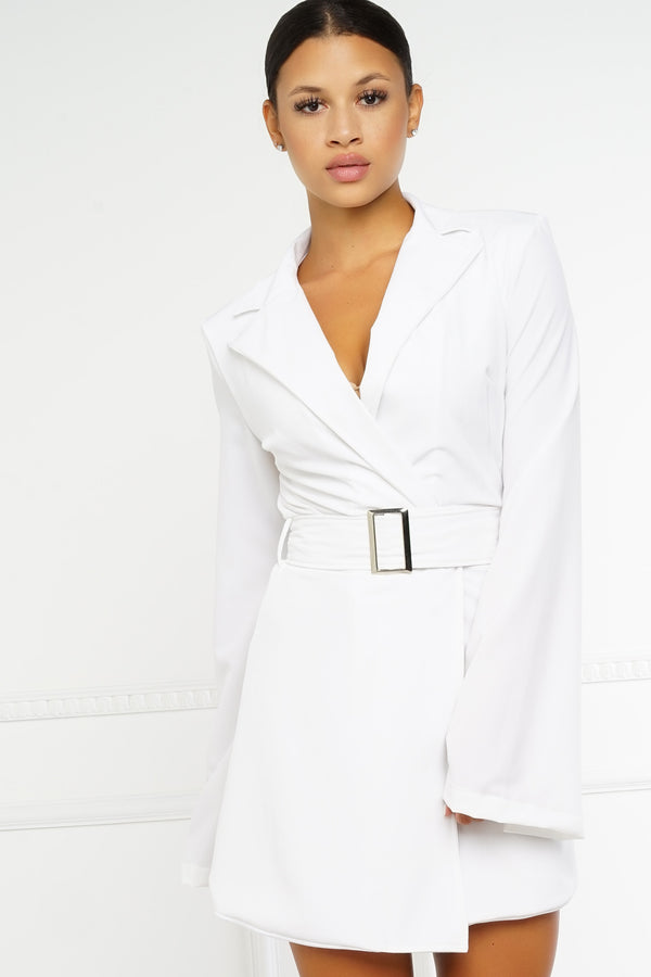Hadid Blazer Dress - White