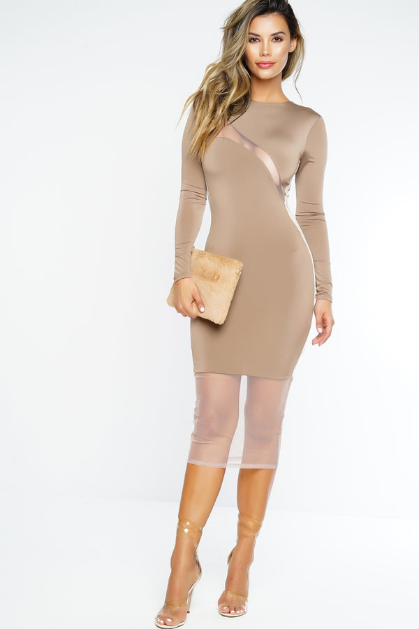 Mila Midi Dress - Tan