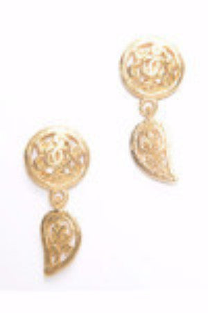 Chanel Drop Ornamental Design Vintage Clip On Earrings