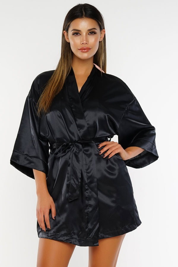 ARIKA SATO Glam Satin Robe - Black