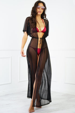 Hamptons Mesh Cover Up - Black