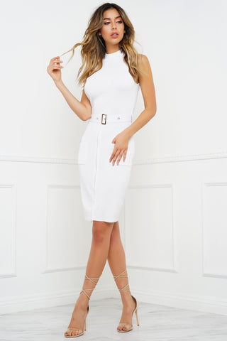 Mabelynn Buckle Dress - White