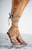 Letty Lace Up Perspex Heels - Grey - WantMyLook