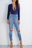 Paloma Suede Bodysuit - Navy - WantMyLook