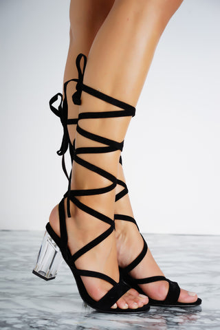 Letty Lace Up Perspex Heels - Black