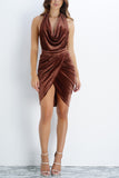 Elena Velvet Draped Dress - Mocha - WantMyLook