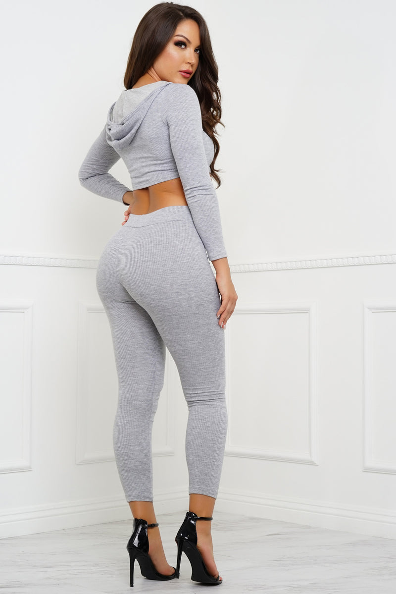 Janie Knit Cropped Jogger Set - Heather Grey