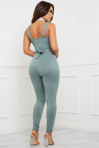 Sweetest Dreams Jumpsuit - Sage