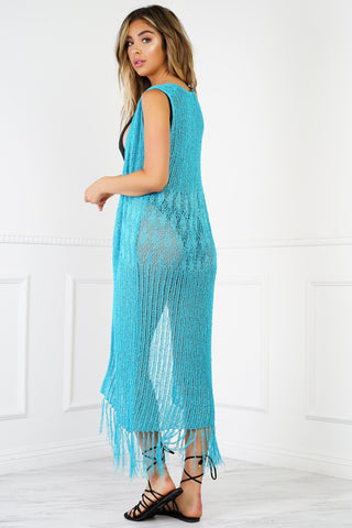 Sunset Fringe Crochet Cover Up - Aqua