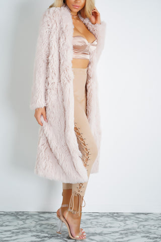 Raya Faux Fur Jacket - Blush