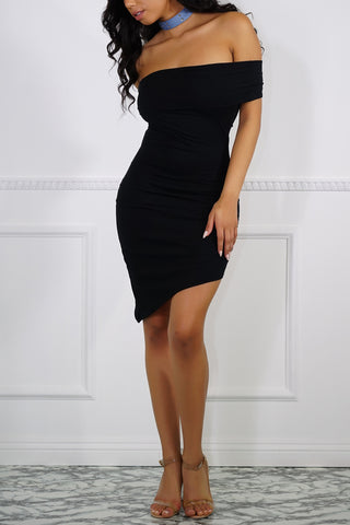 Charlie Off The Shoulder Asymmetrical Dress - Black