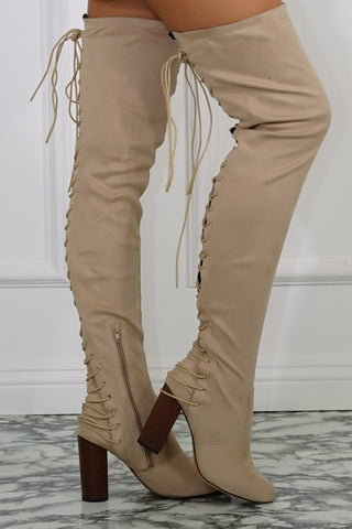 Addison Thigh High Boots - Nude Suede