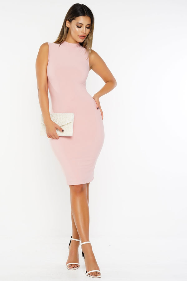 Ella Bodycon Midi Dress - Blush