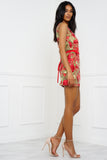Madeleine Floral Mini Dress - Red