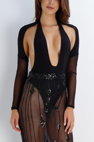 Crystal Mesh Bodysuit - Black