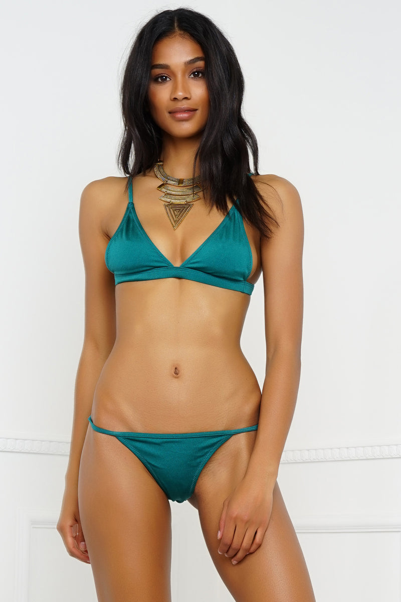 Sunburst Swim Top - Metallic Emerald