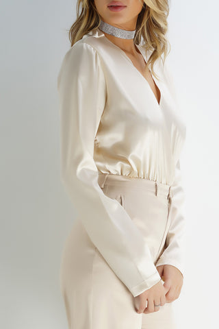 Zion Blouse Bodysuit - Ivory - WantMyLook