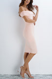 Arielle Off The Shoulder Midi Dress - Blush - WantMyLook