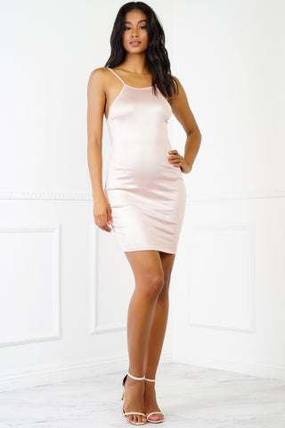Cici Metallic Halter Mini Dress - Blush