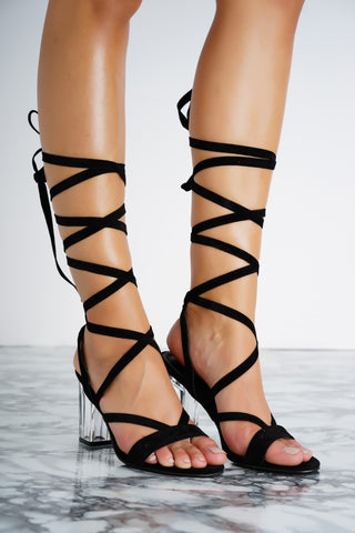 Letty Lace Up Perspex Heels - Black - WantMyLook