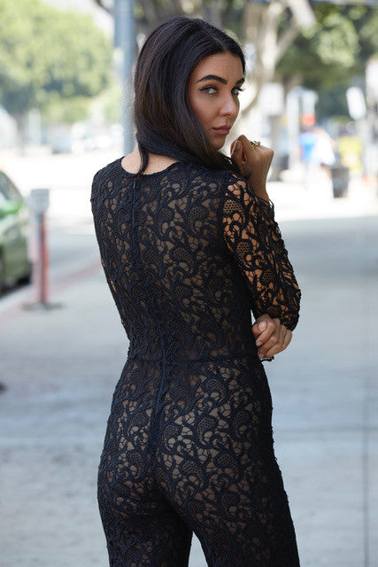Alice Lace Jumpsuit - Black