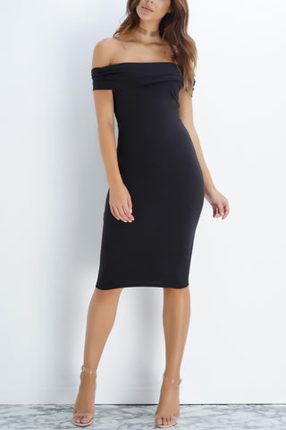 Arielle Off The Shoulder Midi Dress - Black