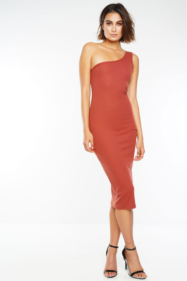 Salem One Shoulder Dress - Rust