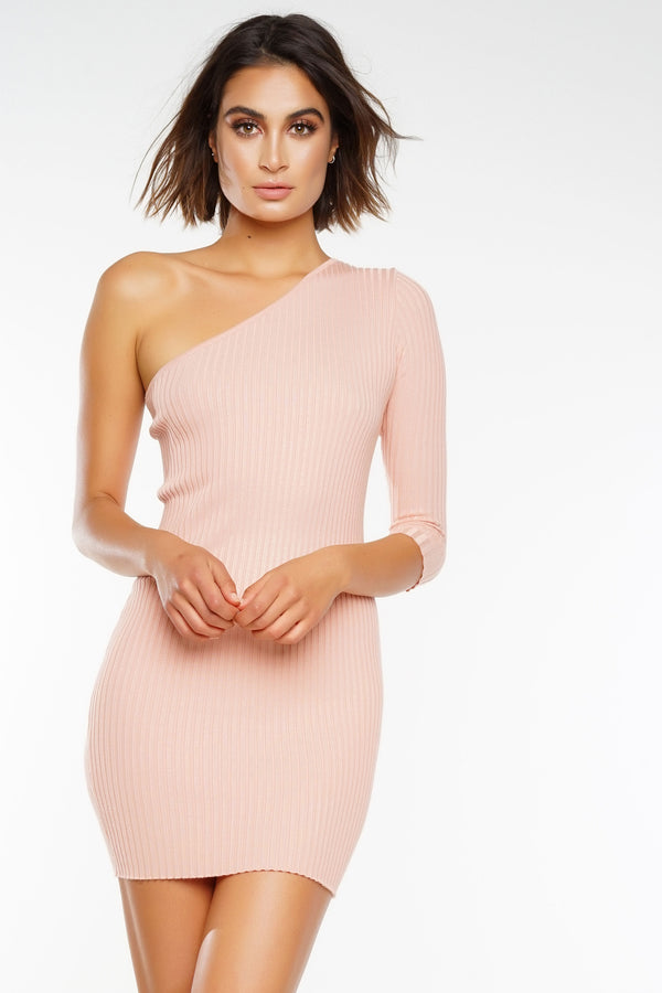 Simple Life One Shoulder Knit Dress - Pink